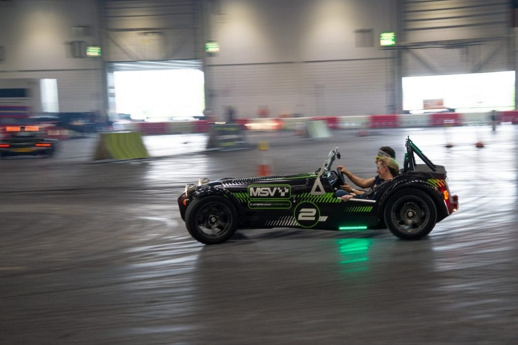 Caterham Drift Taxi in London Motor and Tech show