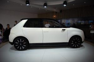 Honda e electric car from the side view. Best choice for city.