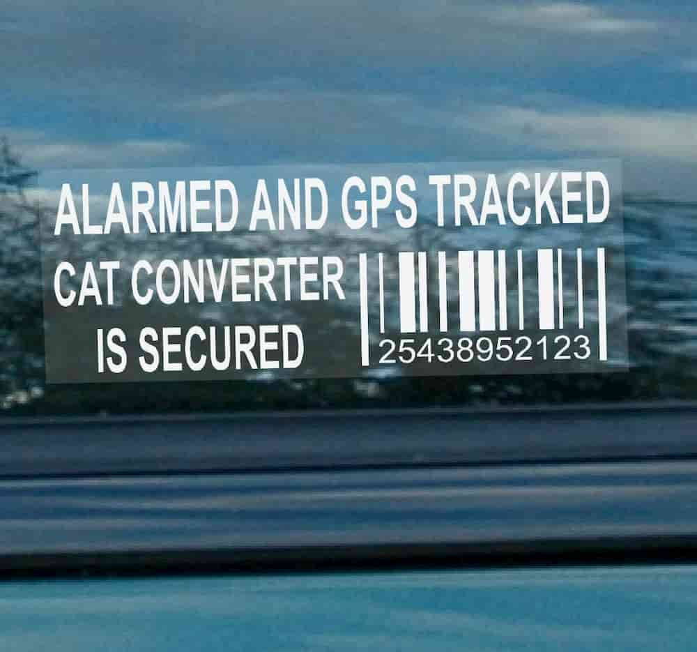 protect catalytic converter using sticker