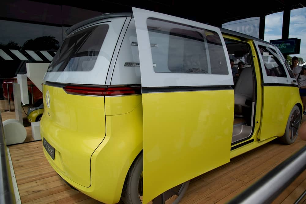 Electric Campervan VW ID Buzz from the side with opened doors
