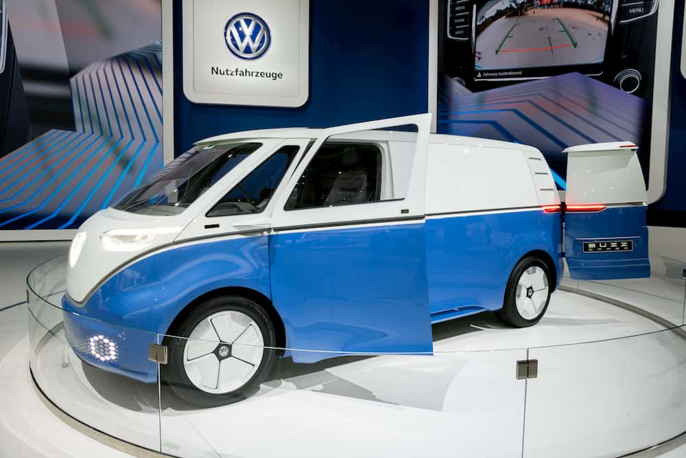 Electric Campervan VW ID Buzz Cargo from the side with opened doors