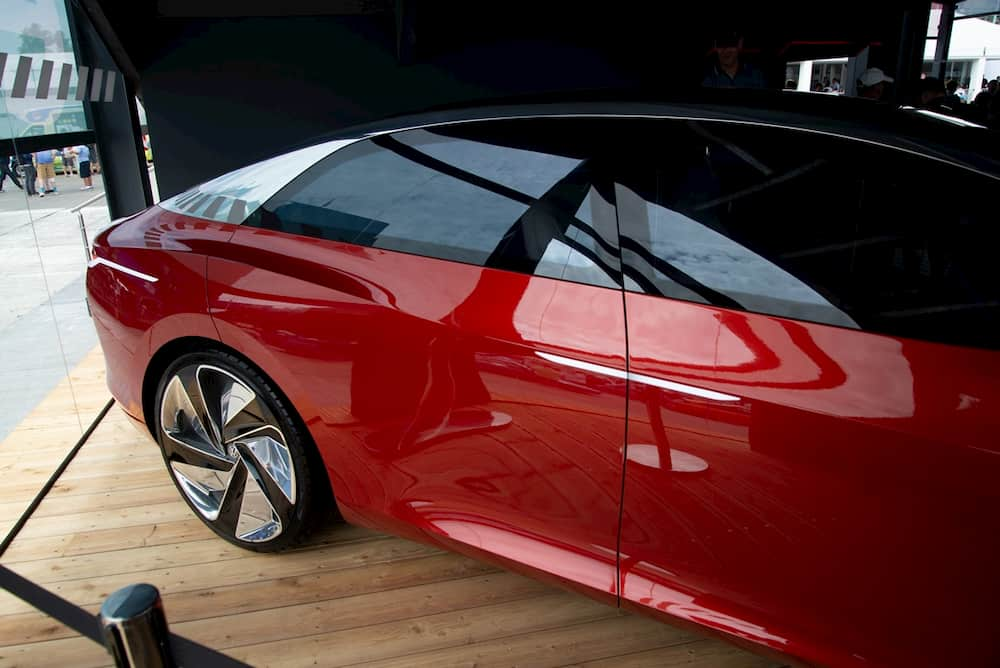 vw id vizzion electric concept car from the rear side view
