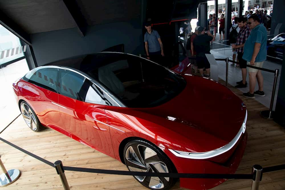 vw id vizzion electric concept car from the top